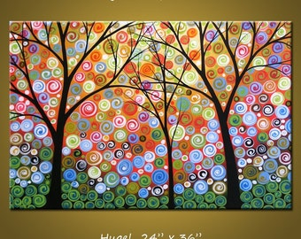Large Wall Art / Modern Abstract Living Room Decor / Landscape Tree Painting / Large Painting / Rainbow Art Wall Decor / Nights of Splendor