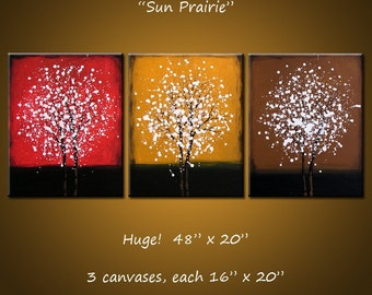 Art Paintings Triptych Large Abstract Contemporary Landscape Trees .. yellow red brown white black ...48' ... Sun Prairie, Amy Giacomelli