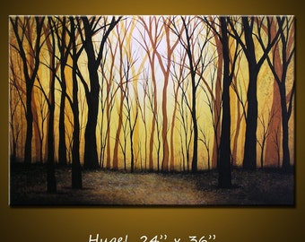 Art Painting Golden Trees Landscape Amy Giacomelli Original Large Modern Contemporary Forest ... 24 x 36 .. Sunset Forest