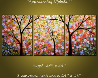 """Extra Large Wall Art Painting Triptych Modern Contemporary Trees Landscape Stars //  24"""" x 54"""" // Approaching Nightfall, by Amy Giacomelli"""
