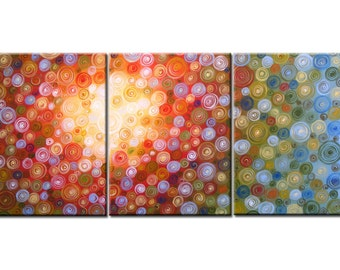 "Abstract Art Triptych Painting Original Large Modern Contemporary Wall decor.. yellow green red blue ..54"" ..Land of the Sun, Amy Giacomelli"