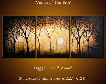 "Extra Large Wall Art Original Triptych Painting Contemporary Landscape Trees Sun ...Over 5 feet across, 66"" ... Valley of the Sun"