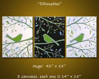 "Original Abstract Painting Birds Trees ... green black white ... 18"" x 42"" ... Ready to Hang, ""Silhouettes"""