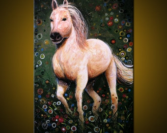 "Amy Giacomelli Painting Original Large Abstract Impasto Textured Horse .... 24 x 36 ... ""Majestic"", plz c close ups"