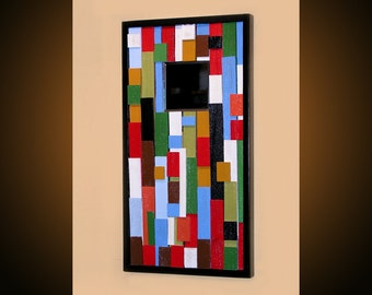 "Original Abstract Contemporary Art Mirror, ready to hang, Please see close-ups, ""Color Blocks 3"" by Amy Giacomelli"