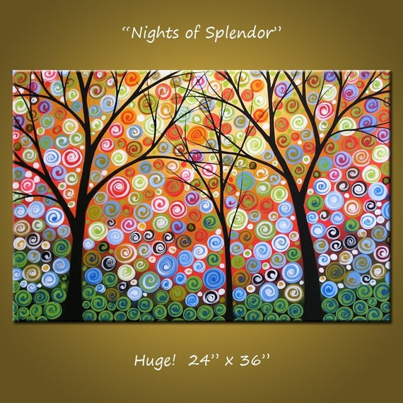 Art Colorful Landscape Large Abstract Painting Modern Trees ... 24 x 36 .. Nights of Splendor, by Amy Giacomelli