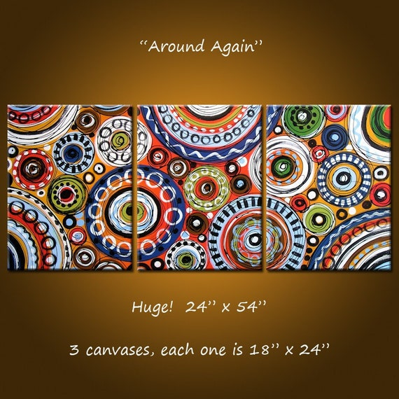 Around Again - 54 x 24, 3 gallery wrapped canvases,  ORIGINAL and HAND PAINTED