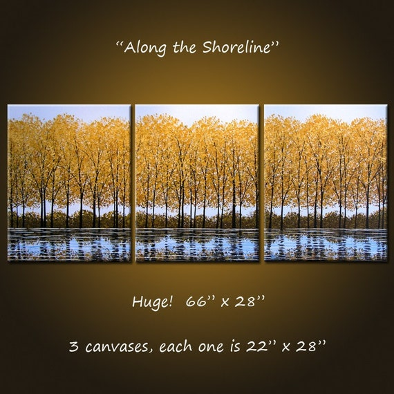 Along the Shoreline - 66 x 28, 3 gallery wrapped canvases, ready to hang, ORIGINAL and HANDPAINTED, Collected World-wide