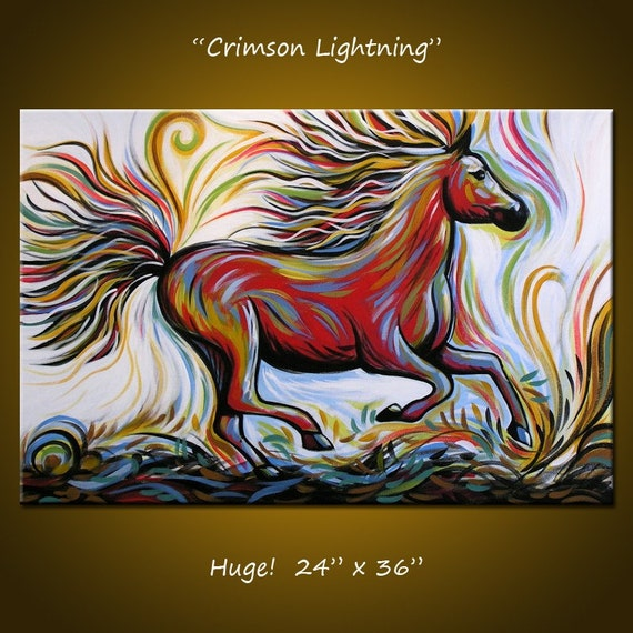 Crimson Lighting - 36 x 24, 1 gallery wrapped canvas,  ORIGINAL and HAND PAINTED