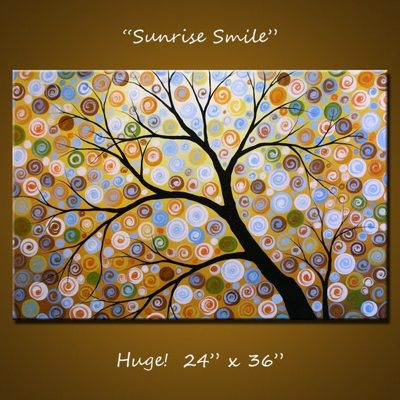 """Art Decor 36"""" Original Large Abstract Painting Modern Contemporary Landscape Trees ... 24 x 36 .. Sunrise Smile, by Amy Giacomelli"""