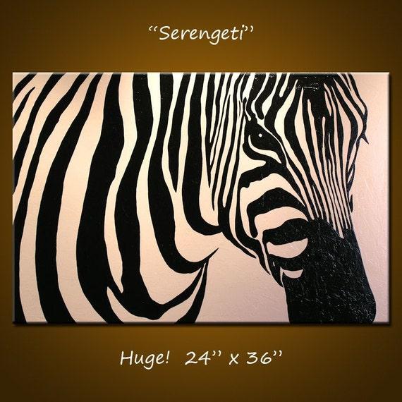 "Original Large Abstract Painting Modern Contemporary Zebra Animal Impasto... 24"" x 36"" ... Serengeti"
