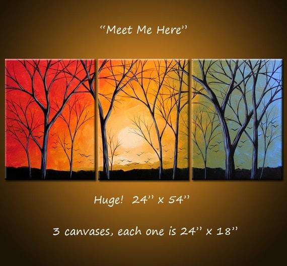 Extra Large Wall Art Triptych Art Landscape Original Large Painting Modern Trees / Amy Giacomelli / Tree art / Sunset art