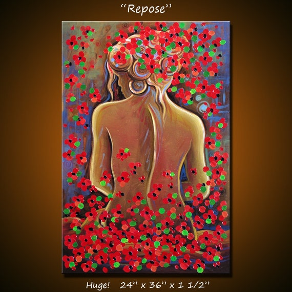 For Rick ... Original Large Abstract Painting Modern Contemporary Nude Woman .. red blue black brown ... 24 x 36 .. Repose