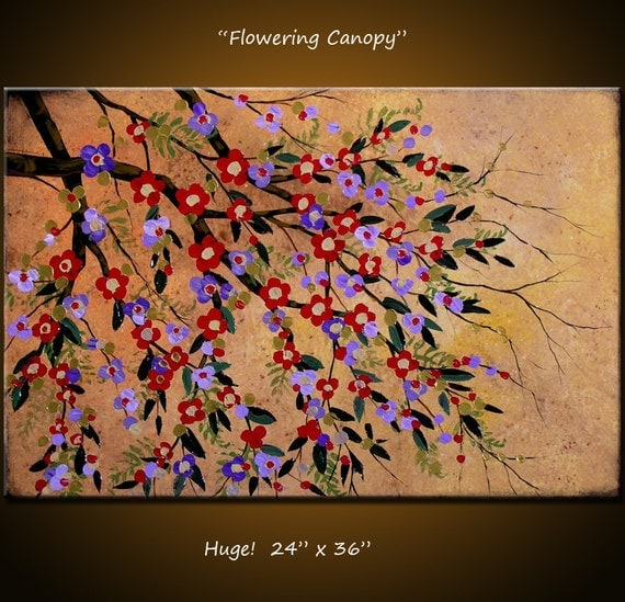 """Original Art Large Abstract Painting Modern Contemporary Floral Impasto .. Arrives ready to hang  ... 24"""" x 36"""" ... """"Flowering Canopy"""""""