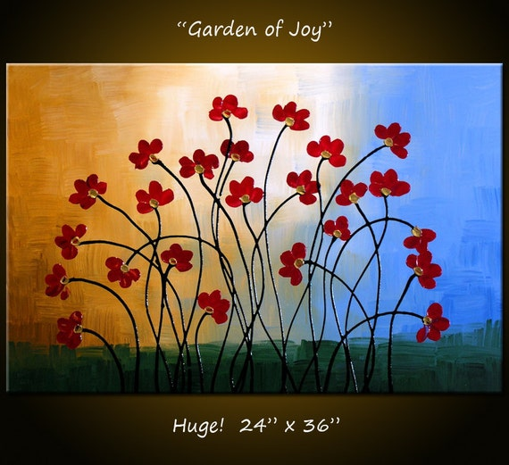 "Amy Giacomelli Painting Original Large Abstract Painting Modern Contemporary Flowers Impasto ... 24 x 36 ... ""Garden of Joy"""