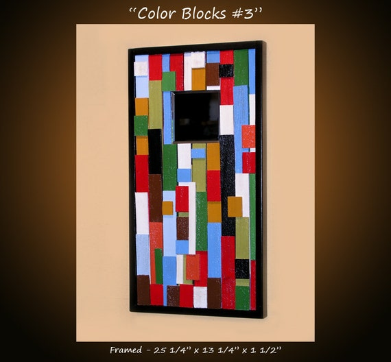 """Original Abstract Contemporary Art Mirror, ready to hang, Please see close-ups, """"Color Blocks 3"""" by Amy Giacomelli"""