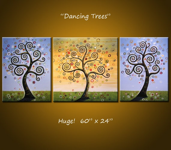 "Original Huge Large Abstract Painting Modern ... 5 feet across ...60"" x 24"" ... ""Dancing Trees"""