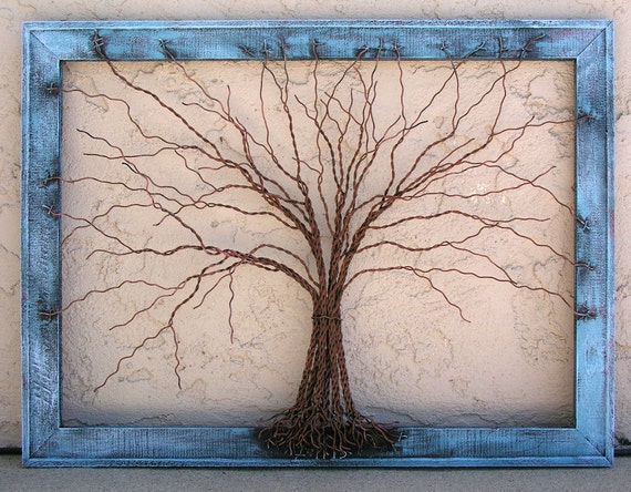 Original Large Tree Abstract Sculpture Painting ... Wire tree on distressed salvaged frame, by Amy Giacomelli