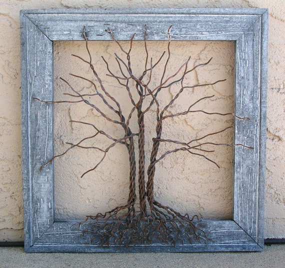 """Original Wire Tree Abstract Sculpture Painting ... Wire tree on distressed salvaged frame, Giacomelli ... Perfect gift size 12"""" x 12"""""""