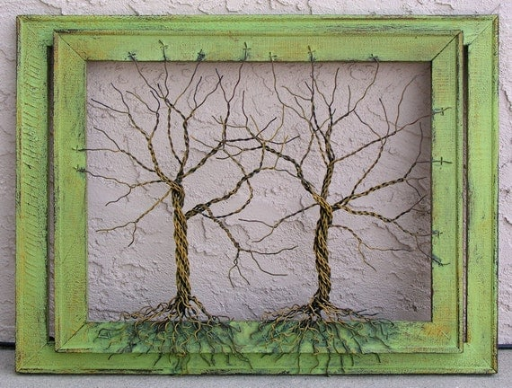 Amy Giacomelli Painting Original Large Tree Abstract Sculpture ... Wire tree on double distressed salvaged frame