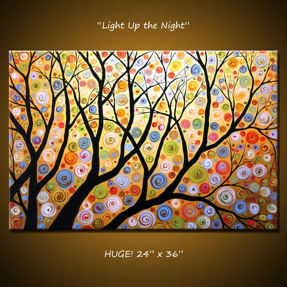 """Art Original Large Abstract Painting Modern Contemporary Landscape... 24"""" x 36"""" ... Light Up the Night, by Amy Giacomelli"""