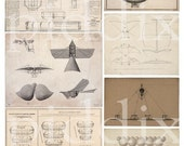 French Steampunk Flying Machines -- piddix digital collage sheet no. 357