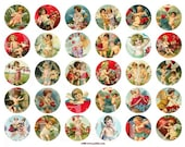 Sweet Valentine Cherubs in 1.5 in Circles -- piddix digital collage sheet no. 253