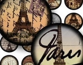 French Paris digital collage sheet in 1 inch circles for bottlecaps and more -- piddix 677