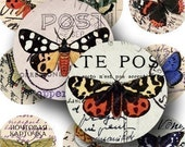 Vintage Butterflies on Postcards in 1.5-inch Circles -- piddix digital collage sheet 160