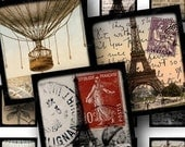 French digital collage sheet scrabble tile size .75 x .83 inches eiffel tower france paris hot air balloon french text -- piddix 681