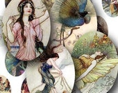 Fairies and Water Nymphs in 18 x 25mm small ovals -- piddix digital collage sheet 409