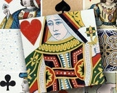 Vintage Playing Cards in 1.5-inch squares for pendants and more -- piddix digital collage sheet 606