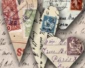 Carte Postale Valentine Hearts -- piddix digital collage sheet no. 698
