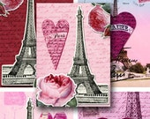 French Valentines 2.5x3.5 inch digital collage sheet -- piddix 798