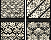 Digital collage sheet of Black and White Bombay Silk in 2.5 inch squares -- piddix 758
