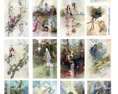 Fairies in Shades of Blue -- piddix digital collage sheet no. 115