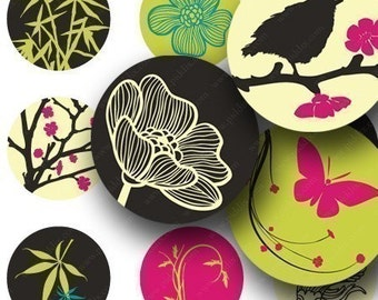Bright Zen Birds and Bamboo in 1.5 inch circles One -- piddix digital collage sheet 643