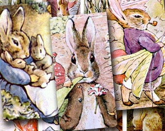 Bunnies for Easter and Spring in 1x2 inches for dominos and more -- piddix digital collage sheet 244