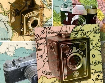 World Traveler Vintage Cameras and Maps in 2.5 inch squares -- piddix digital collage sheet 689