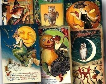 Vintage Halloween Postcards Two -- piddix digital collage sheet no. 663