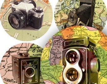Vintage Maps, Cameras, Travel, 2.5 Inch Circles, Handmade Printable Instant Download Collage Sheet for Pendants, Glass Tiles -- piddix 714