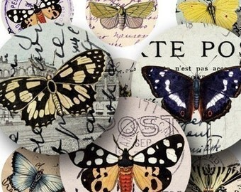 Butterflies on Vintage Postcards in 1 inch Circles for bottlecap art and more -- piddix digital collage sheet no. 315