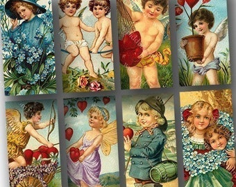 Victorian Valentine Clipart in 1x2s for dominoes and more -- piddix digital collage sheet no. 696