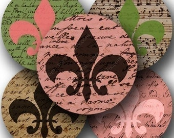 Vintage Fleur de Lis in 2.5 inch circles for pocket mirrors and more -- piddix digital collage sheet 688