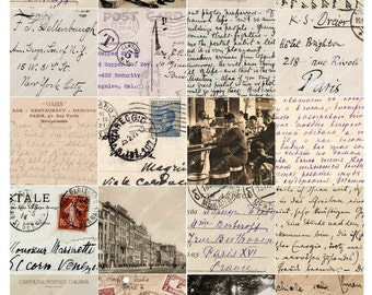 French, German and Italian Vintage Postcards in 2 inch squares Two -- piddix digital collage sheet no. 445
