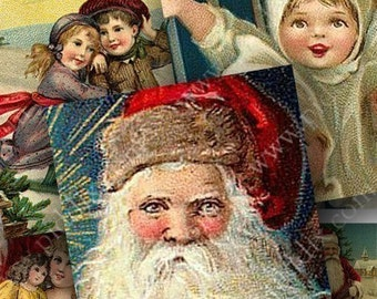 Victorian Christmas Images in 1 inch squares for pendants and more -- piddix digital collage sheet no. 433
