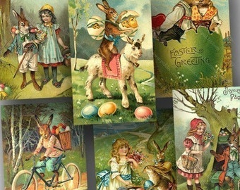 Victorian Easter Postcards -- piddix digital collage sheet 706