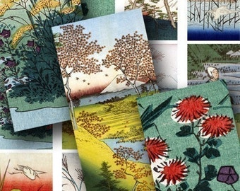 Japanese Nature in 1x2 inches for dominos and more -- piddix digital collage sheet 369