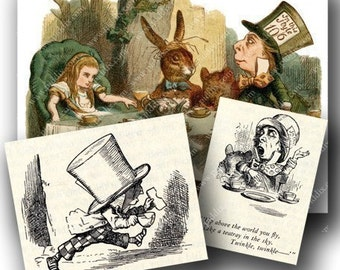 Alice in Wonderland collage sheet Mad Hatter Tea Party -- piddix no. 647
