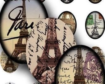 French Ephemera Printables, 18x25 mm ovals, Paris France Instant Download Eiffel Tower, Digital Vintage Ovals, French Ephemera -- piddix 658